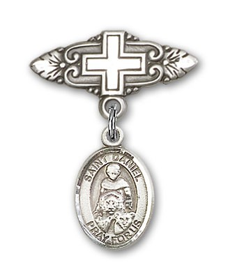 Pin Badge with St. Daniel Charm and Badge Pin with Cross - Silver tone