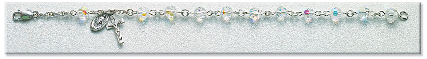 Rosary Bracelet - Sterling Silver with 6mm Crystal Swarovski Beads - Crystal