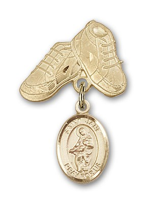 Pin Badge with St. Jane of Valois Charm and Baby Boots Pin - 14K Yellow Gold