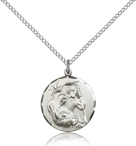 Holy Family Pendant - Sterling Silver