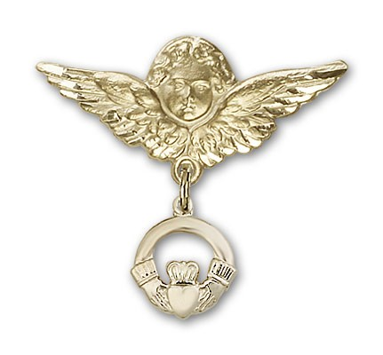 Pin Badge with Claddagh Charm and Angel with Larger Wings Badge Pin - Gold Tone