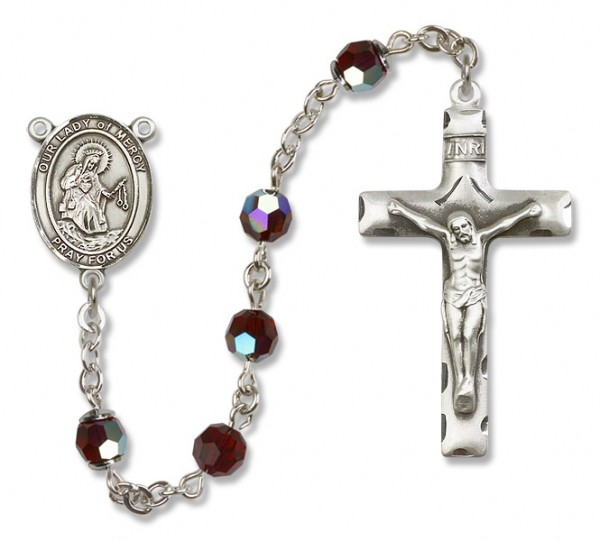 Our Lady of Mercy Sterling Silver Heirloom Rosary Squared Crucifix - Garnet