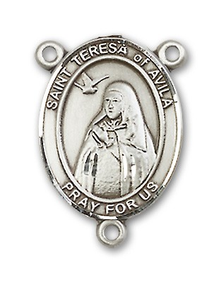St. Teresa of Avila Rosary Centerpiece Sterling Silver or Pewter - Sterling Silver
