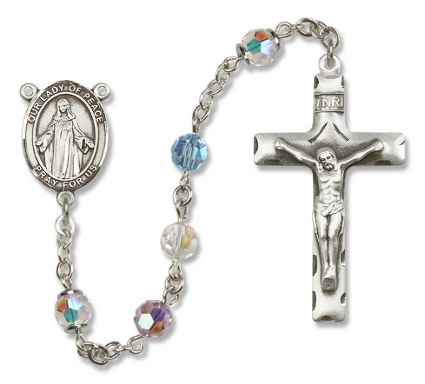 Our Lady of Peace Rosary Heirloom Squared Crucifix - Multi-Color