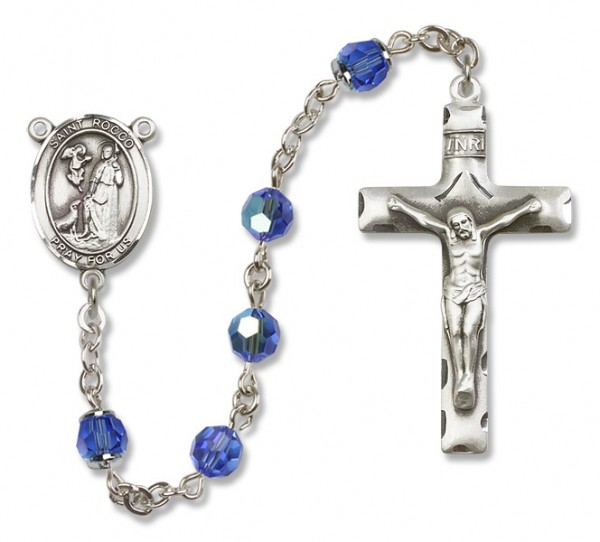 St. Rocco Sterling Silver Heirloom Rosary Squared Crucifix - Sapphire