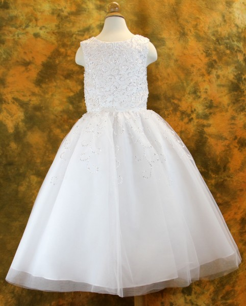 First Communion Dress with Sequin Swirl Design, Size 7 - White