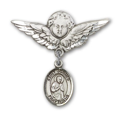 Pin Badge with St. Isaac Jogues Charm and Angel with Larger Wings Badge Pin - Silver tone