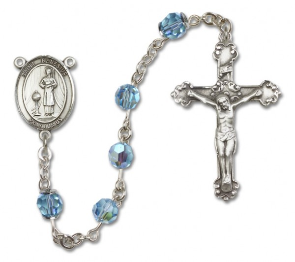 St. Genesius of Rome Sterling Silver Heirloom Rosary Fancy Crucifix - Aqua