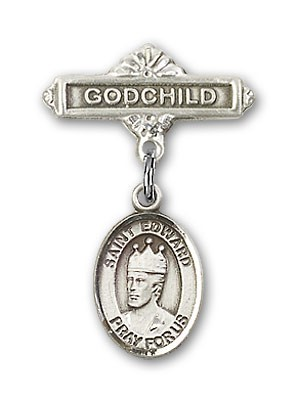 Pin Badge with St. Edward the Confessor Charm and Godchild Badge Pin - Silver tone