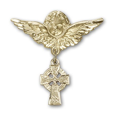 Pin Badge with Celtic Cross Charm and Angel with Larger Wings Badge Pin - Gold Tone