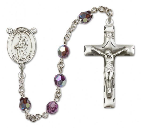 St. Jane of Valois Rosary Heirloom Squared Crucifix - Amethyst