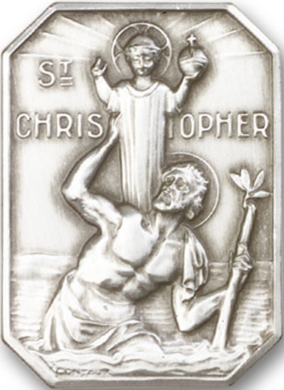 St. Christopher Visor Clip - Antique Silver