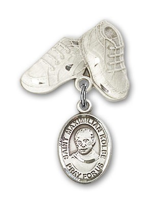 Pin Badge with St. Maximilian Kolbe Charm and Baby Boots Pin - Silver tone