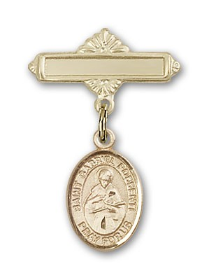 Pin Badge with St. Gabriel Possenti Charm and Polished Engravable Badge Pin - Gold Tone