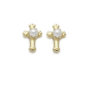 Gold Cross Earrings with Pearl Center - Gold