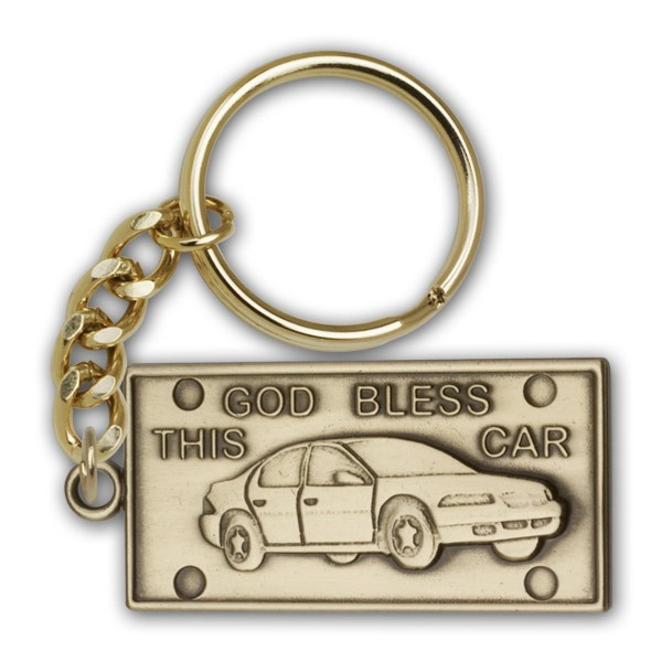 God Bless This Car Keychain - Antique Gold