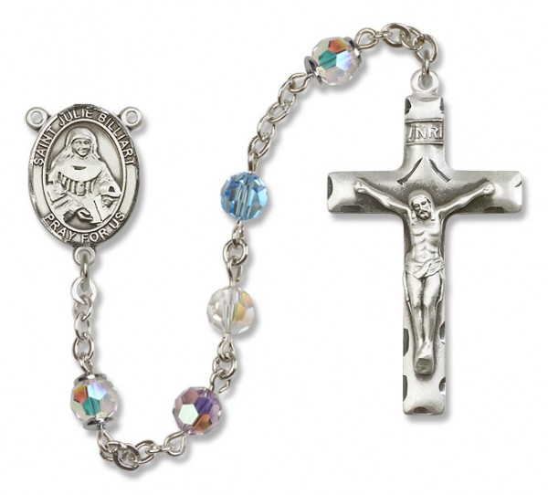 St. Julia Billiart Sterling Silver Heirloom Rosary Squared Crucifix - Multi-Color
