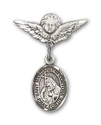 Pin Badge with St. Margaret of Cortona Charm and Angel with Smaller Wings Badge Pin - Silver tone