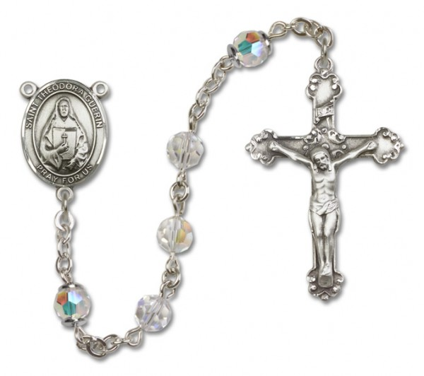 St. Theodore Guerin Rosary Heirloom Fancy Crucifix - Crystal