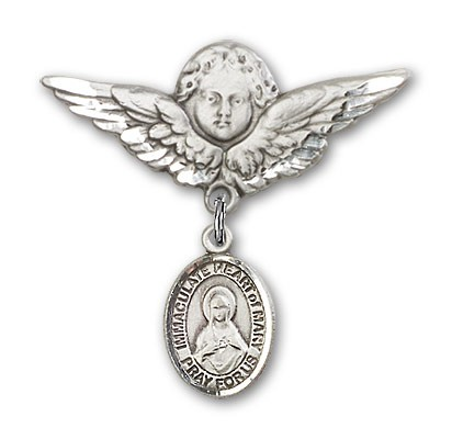 Pin Badge with Immaculate Heart of Mary Charm and Angel with Larger Wings Badge Pin - Silver tone