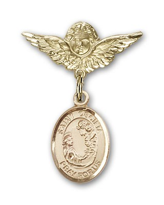 Pin Badge with St. Cecilia Charm and Angel with Smaller Wings Badge Pin - 14K Solid Gold