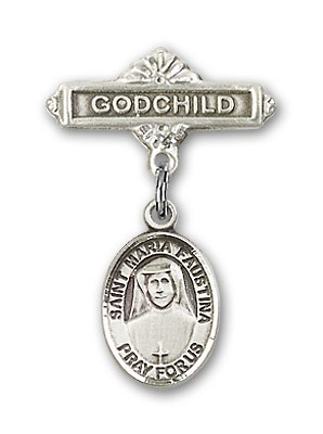 Pin Badge with St. Maria Faustina Charm and Godchild Badge Pin - Silver tone