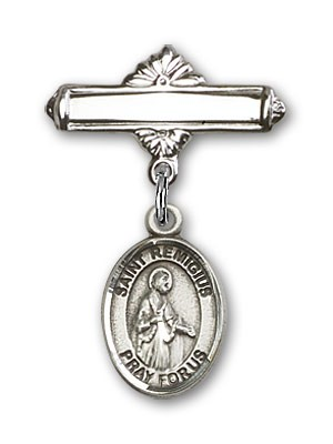 Pin Badge with St. Remigius of Reims Charm and Polished Engravable Badge Pin - Silver tone
