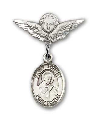 Pin Badge with St. Robert Bellarmine Charm and Angel with Smaller Wings Badge Pin - Silver tone