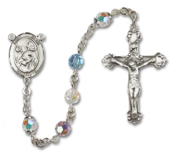 St. Kevin Sterling Silver Heirloom Rosary Fancy Crucifix - Multi-Color