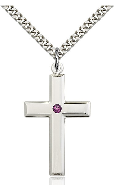 Large Plain Cross Pendant with Birthstone Options - Amethyst