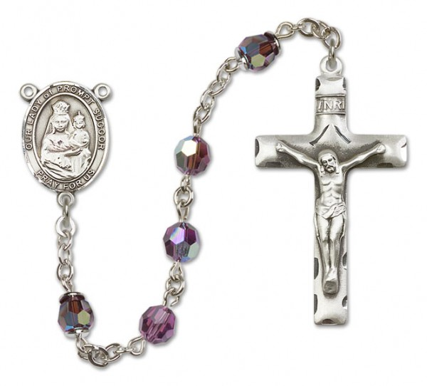 Our Lady of Prompt Succor Rosary Heirloom Squared Crucifix - Amethyst