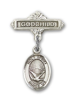 Baby Badge with Holy Spirit Charm and Godchild Badge Pin - Silver tone
