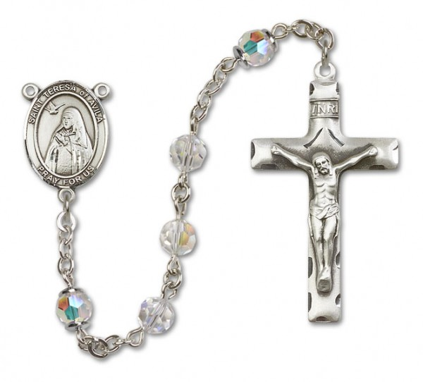 St. Teresa of Avila Sterling Silver Heirloom Rosary Squared Crucifix - Crystal