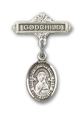 Baby Badge with Our Lady of Perpetual Help Charm and Godchild Badge Pin - Silver tone