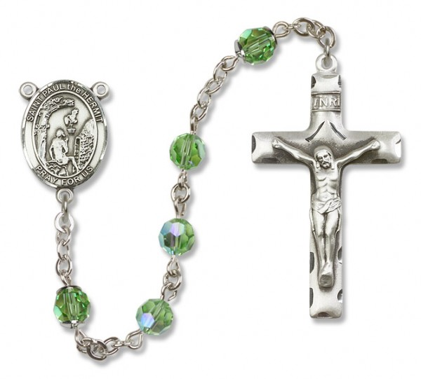 Paul the Hermit Sterling Silver Heirloom Rosary Squared Crucifix - Peridot