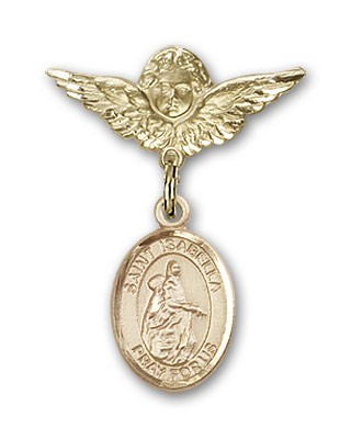 Pin Badge with St. Isabella of Portugal Charm and Angel with Smaller Wings Badge Pin - 14K Yellow Gold