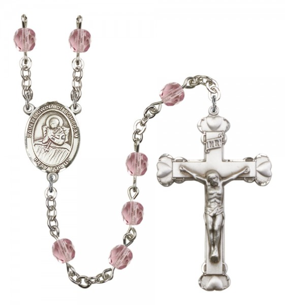 Women's St. Lidwina of Schiedam Birthstone Rosary - Light Amethyst