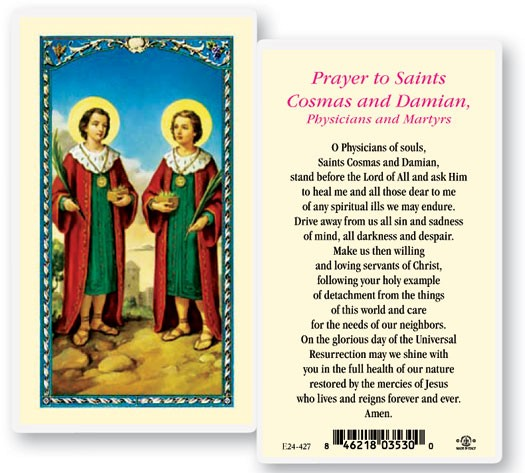 Sts Cosmos And Damian Laminated Prayer Cards 25 Pack - Full Color