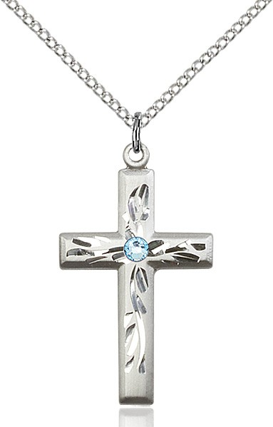 Squared Edge Cross with Vine Etching with Birthstone Options - Aqua