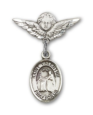 Pin Badge with St. Valentine of Rome Charm and Angel with Smaller Wings Badge Pin - Silver tone