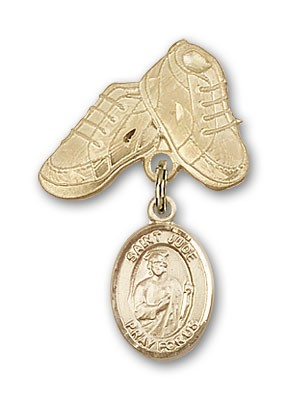 Pin Badge with St. Jude Thaddeus Charm and Baby Boots Pin - 14K Yellow Gold