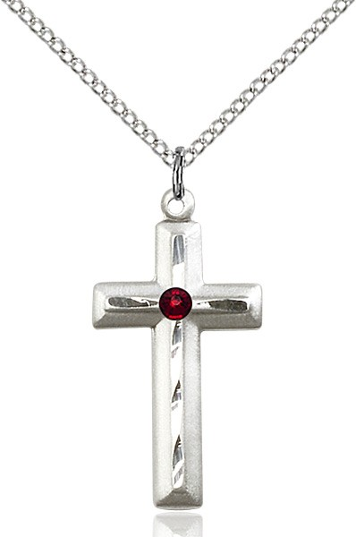 Matte and Polished Cross Pendant with Birthstone Options - Garnet