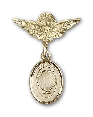 Baby Pin with Baptism Charm and Angel with Smaller Wings Badge Pin - 14K Yellow Gold