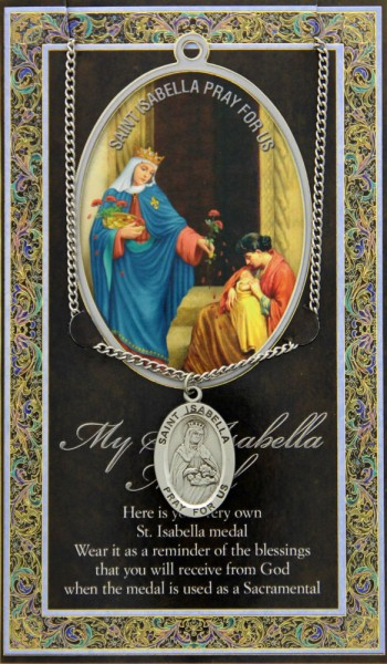 St. Isabella Medal in Pewter with Bi-Fold Prayer Card - Silver tone