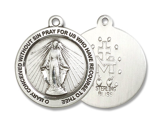 Women's Simple Round Miraculous Medal - Sterling Silver