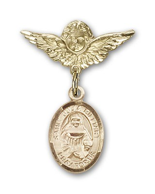 Pin Badge with St. Julia Billiart Charm and Angel with Smaller Wings Badge Pin - 14K Yellow Gold