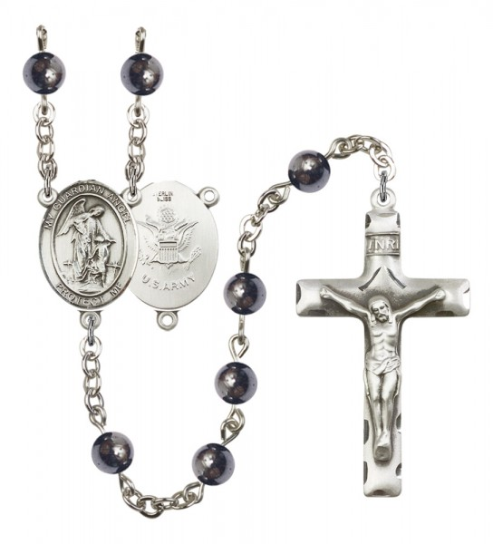Men's Guardian Angel Army Silver Plated Rosary - Gray