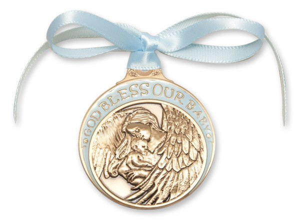 Boy's Blue Ribbon Guardian Angel Crib Medal in Brass - Blue | Gold