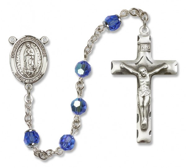 Our Lady of Guadalupe Sterling Silver Heirloom Rosary Squared Crucifix - Sapphire