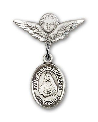 Pin Badge with St. Frances Cabrini Charm and Angel with Smaller Wings Badge Pin - Silver tone